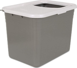 Petmate Top Entry Litter Pan Cat Box Brushed 1 Count Pack of 1 Gray