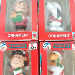 Vintage PEANUTS Holiday Ornament LOT OF 4 Charlie Brown Snoopy Lucy Woodstock