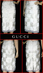 FW 2002 TOM FORD for GUCCI OFF-WHITE HAND-EMBROIDERED DRESS SKIRT