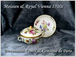 Rare Antique Meissen Royal Vienna Covered Soup And Saucer