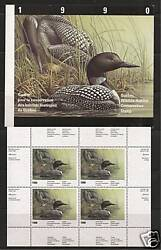 Canada Quebec Qu-3 Wildlife Conservation Stamp Sheet 1990, Loons
