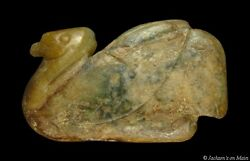 Ancient Chinese Calcified Jade Swan Effigy Pendant