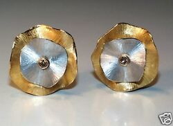 750 Y And W Gold Pink Diamond Flower E.m Clip Earrings