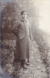 1918 Photo Of Ww1 German Army Soldier Wearing Greatcoat
