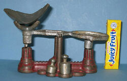 Old Cast Iron Toy Balance Scale Marked Just Us + Orig. Weight On Sale Ci402