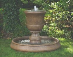32 Cento Urn On Classic Pool Fountain Cement Garden