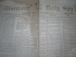 Genuine Lincoln Assassination Newspaper From Worcester Mass. - April 15 1865