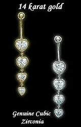 HEART  14 kt   GOLD belly Navel ring Cubic Zirconia