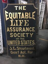 Museum Quality C1880 Life Assurance Sign Nh Agent 60 X 33'x 2 Black And Gold