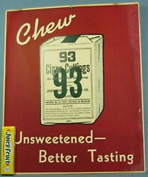 Old Authentic 93 Cigar Cuttings Cardboard Sign J Weisert Tobbaco Co Ad757