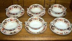 Set Of 6 Double Handle Cream Cup And Saucer Sets - Pareek - Johnson Bros England