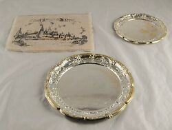 Lot Of 2 Silver Plate Serving Platters Dishes Placemat Napking Set Mockba N3b33