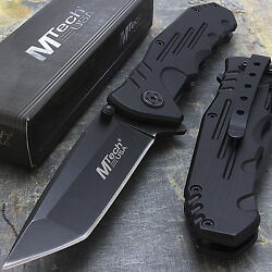 7.75 M-tech Usa Tanto Blade Black Stainless Steel Tactical Folding Pocket Knife