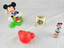 Lot Of 5 Disney Collectible Mickeyand Minnie Mouse Lamp Cologne Kicking Toy T4p40
