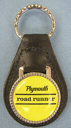 Vintage Yellow Plymouth Road Runner Black Leather Usa Key Ring 1968 1969 1970