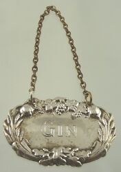 Gin Decanter Leaf And Grape Label Silver Plate By American Unknown Maker Aa