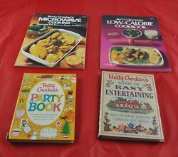 Lot Of 4 Vintage Betty Crocker Cookbooks Microwave Low-calorie Party Book X5o19
