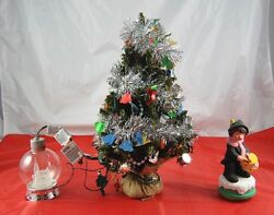 Lot Of 3 Christmas Decorations Globe Lighted Ornament Tree And Drummer Boy  X3p2