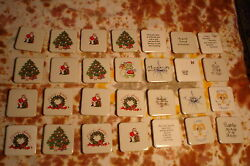 Lot 28 Ceramic Tile Refrigerator Magnets W/ Friendship And Christmas Prints