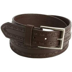 BROWN  John Deere Stitched LEATHER BELT Casual JEANS 34 36 38 40 42 $25.75