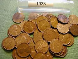 1933-p Lincoln Wheat Cent Penny Roll, 50 Coins