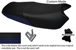 Black And Navy Blue Custom Fits Yamaha Ybr 125 05-09 Dual Leather Seat Cover