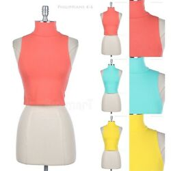 Cotton Turtleneck Cropped Sleeveless Top Solid Plain Sexy Cute Stylish Spandex $10.99