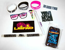 LMFAO 11 Piece Party Rock Gift Set New Sunglasses Bracelets Tattoos Iphone Case