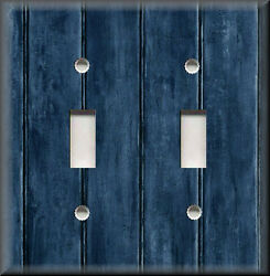 Metal Light Switch Plate Cover - Image Of Rustic Barn Wood Navy Blue Home Decor