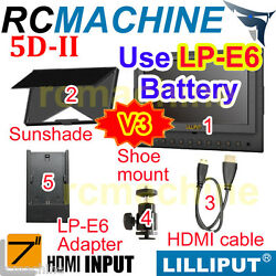 7 Lilliput 5d-ii 5dii-h On Dslr Camera Field 1080p Monitor Hdmi For Canon 5d Ii
