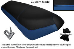 Black And Royal Blue Custom Fits Suzuki Ap 50 Scooter Leather Dual Seat Cover