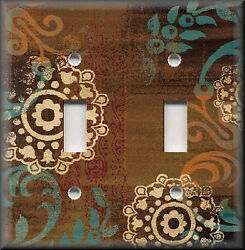 Metal Light Switch Plate Cover - Boho Gypsy Home Decor - Brown Floral Decor