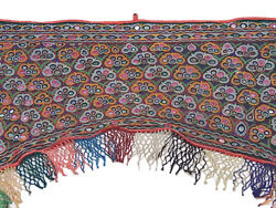 Vintage Doorway Window Topper Kutch Mirror Gate Fabric Embroidered India Valance