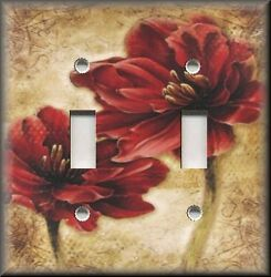 Metal Light Switch Plate Cover - Red Flowers Tan Background - Floral Home Decor