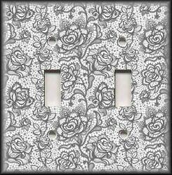 Metal Light Switch Plate Cover - Grey Floral Lace Home Decor Lace Decor