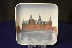 B And G Collectible Square Porcelain Plate Denmark - 62019 For Display