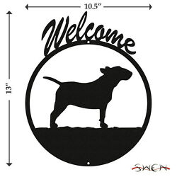 Bull Terrier Black Metal Welcome Sign *NEW*