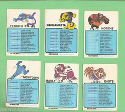 1981 Set Of 12 Scanlens Rugby League Checklist Cards, Checked
