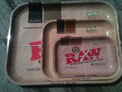 Raw Rolling Paper Brand Tray 3-pack Lot Medium, Large And Extra Large +free Gift