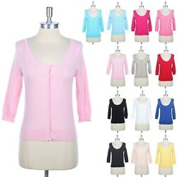 PASTEL Toned 34 Sleeve Round Neck Button Down Knit Cardigan Cute Casual S M L
