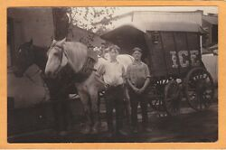 Real Photo Postcard Rppc - Two Men And Horsedrawn George Bros Ice Wagon