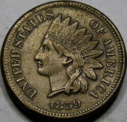 1859 Cn Indian Head Cent Nice Au Coin... 1 Year Type Coin, A Pleasing Example