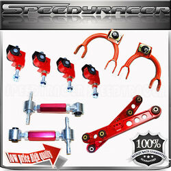 Fandr Camber Kit+front Upper Arm+rear Lower Control Arm For 88-91 Civic Andcrx Red