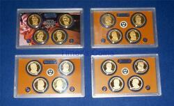 2010 2011 2012 And 2013 Proof Presidential Dollar Set-4 Sets-16 Coins-no Box/coa
