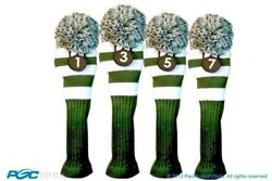 1 3 5 7 Forest Dark Green White Knit Pom Golf Club Headcover Vintage Covers Set
