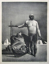 Rockwell Kent Signed 1933 Original Lithograph Sledging Greenland Travelers