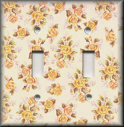 Metal Light Switch Plate Cover - Peach Mini Roses Shabby Chic Home Decor Floral
