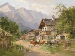 Art Oil Painting Ancient Village Farmer's House With Cows In Landscape Canvass