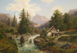 Huge Oil Painting Beautiful Landsdcape And Farmer's House By Stream Canvas 24x36