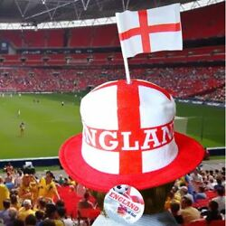England Fans Top Hat World Cup Cap St George Cross Flag Football Party Soccer